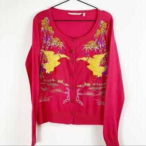 Soft Surroundings Embroidered Crane Cardigan